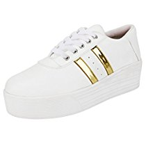 Get Ethics Perfect Stylish White Gold Sneaker Shoes for Women at Rs 401 | Amazon Offer