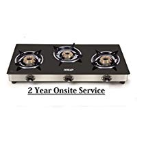 Get Eveready GS TGC3B Stainless Steel 3 Burner Glass-Top Gas Stove (Black) at Rs 2824 | Amazon Offer