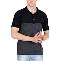 Get Fashion Freak Men's Polo T-shirt with Collar Stylish Half Sleeve Cotton Grey Black (FF0010) at