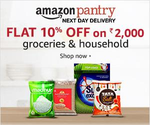 Get Flat 5% Off on Rs 1000/- and 10% Off on Rs 2000 on grocery and household at Amazon