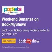 Get Flat Rs.100 Off on Movie Tickets at BookMyShow Booked Via Pockets | icicibank Offer