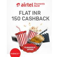 Get Flat Rs.150 Cashback on BookMyShow Ticket Booking of Rs.500 Pay Via Airtel Money Bank | Bookmysh