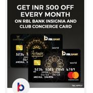 Get Flat Rs.500 OFF on RBL Bank Insignia and Club Concierge Card | Bookmyshow Offer
