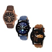 Get Gesture Beautiful Combo of 3 Stylish Creative Analog Watch - For Men at Rs 632 | Flipkart Offer