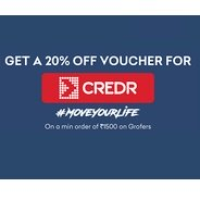 Get Get 20% Off Voucher From CREDR on Minimum Purchase Of Rs.1500 or More On Grofers | Grofers Offer