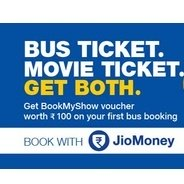 Get Get Rs.100 BookMyShow Voucher on First Bus Ticket Booking Using JioMoney App | jiomoney Offer