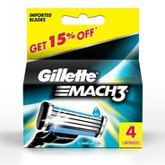 Get Gillette Mach 3 Manual Shaving Razor Blades - 4s Pack (Cartridge) at Rs 392 | Amazon Offer