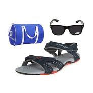 Get Globalite Combo Offer Mens Casual Red Sandal + Sunglasses + Bag (Pack of 3) at Rs 557 | Amazon O