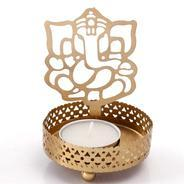 Get Golden Finish Metal Lord Ganesha Tealight Holder by Anasa at Rs 49 | Pepperfry Offer