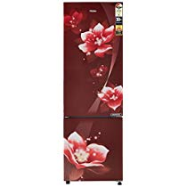 Get Haier 276L 3 Star Frost Free Double Door Refrigerator (HEB-27TRF, Red Flower/Red Magnolia, Conve