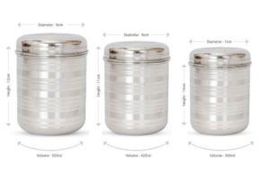 Get Hazel Stainless Steel Kitchen Storage Container 3 Pieces At Rs