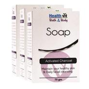 Get HealthVit Bath & Body Activated Charcoal Soap 75g Pack of 3 (225 g, Pack of 3) at Rs 204 | Flipk