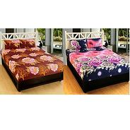 Get Home Berry Fusion Polycotton 2 Double Bedsheet With 4 Pillow Covers (HCHB-26) at Rs 489 | Shopcl