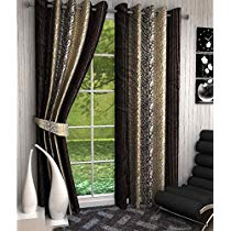 Get Home Sizzler Abstract 4 Piece Eyelet Polyester Door Curtain Set – 7ft, Brown at Rs 679   Amazo