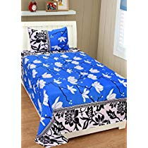 Get Homefab India 140 TC Polycotton Single Bedsheet with 1 Pillow Cover – Blue at Rs 217 | Amazon