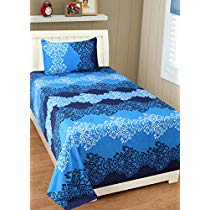 Get Homefab India 140 TC Polycotton Single Bedsheet with 1 Pillow Cover – Blue at Rs 224 | Amazon