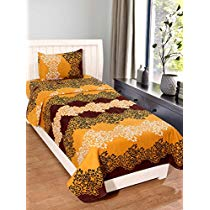Get Homefab India 140 TC Polycotton Single Bedsheet with Pillow Cover – Modern at Rs 229 | Amazon