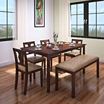 Get HomeTown Artois Six Seater Dining Table Set (Walnut) at Rs 20499 | Amazon Offer