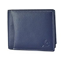 Get Hornbull Men's Navy with White Seam Themes Leather RFID Blocking Wallet at Rs 494 | Amazon Off