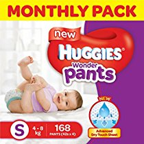 Get Huggies Wonder Pants Small Size Diapers Monthly Pack (168 Count) at Rs 999 | Amazon Offer