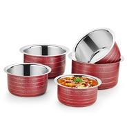 Get IDEALE Red Texture Induction Bottom Cookware Set (Stainless Steel, 5 - Piece) at Rs 995 | Flipka