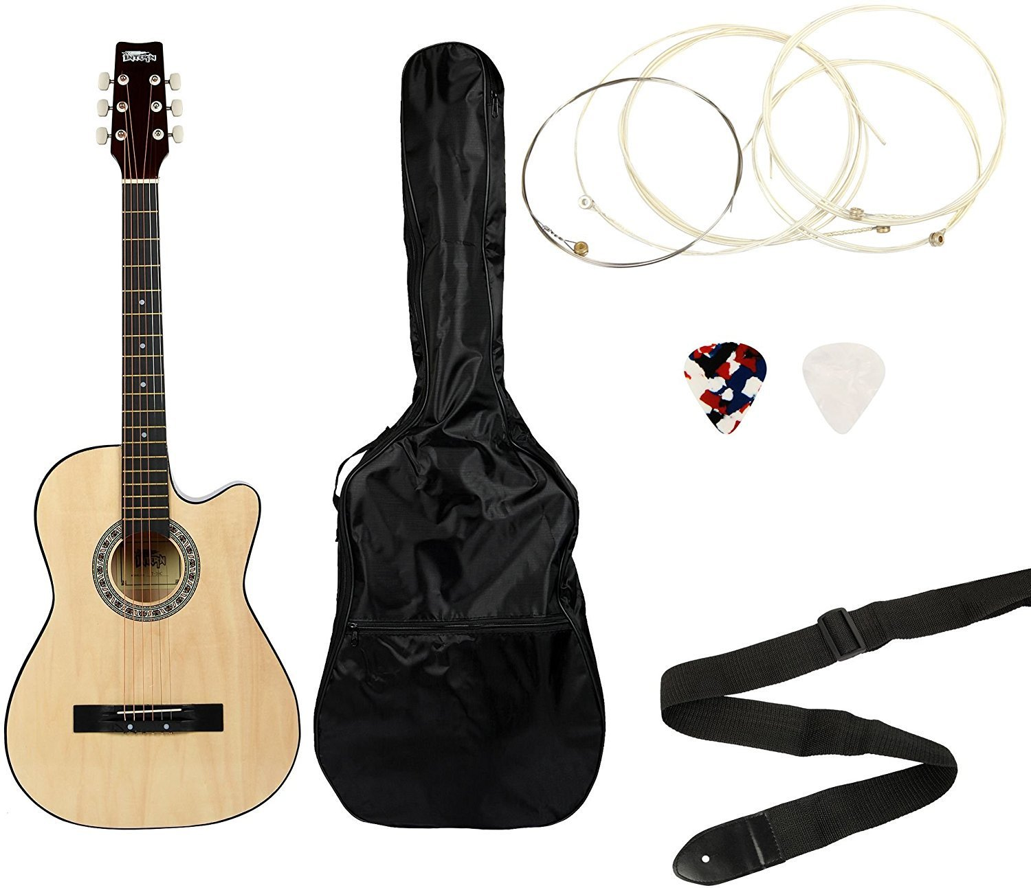 Get Intern INT-38C Acoustic Guitar Kit, Natural at Rs 1990 | Amazon Offer