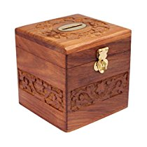 Get ITOS365 Handicrafted Wooden Money Bank Cube Kids Piggy Coin Box Gifts at Rs 313 | Amazon Offer