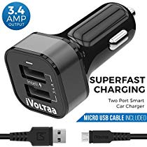 Get iVoltaa 3.4A Dual Port Car Charger with Micro USB Cable – Black at Rs 319 | Amazon Offer