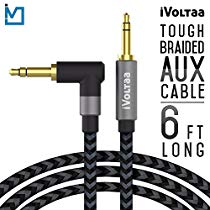 Get iVoltaa 3.5mm Braided Aux (Auxiliary) Audio Cable – 6 Feet (1.8 Meters) – Space Black at Rs