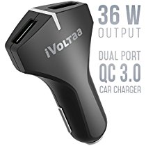 Get iVoltaa QC 3.0 36W Dual Port USB Car Charger Both Port QC 3.0 for Sam at Rs 763 | Amazon Offer
