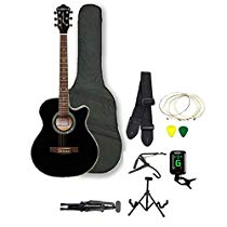 Get Kadence Frontier SeriesBlack Acoustic Guitar Super Combo Fo at Rs 4999 | Amazon Offer
