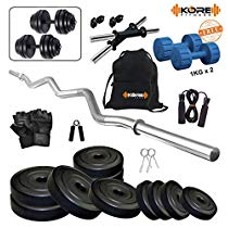 Get Kore K-PVC 20kg Combo 3 Leather Home Gym and Fitness Kit at Rs 1199 | Amazon Offer