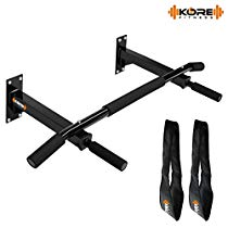 Get Kore K-WM Wall Mounting Chin Up Bar with Solid One Piece Construction Bar and Ab Straps Fitness