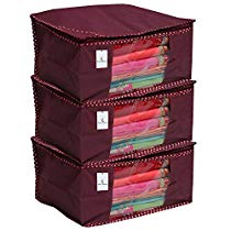Get Kuber Industries 3 Piece Non Woven Saree Cover Set, Maroon at Rs 255 | Amazon Offer