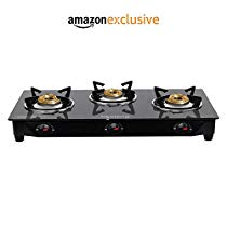 Get Lifelong Glass Top Gas Stove, 3 Burner Gas Stove, Black (1 year warranty with Doorstep Service)