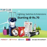Get Lighting, Switches & Extensions Start Rs.70 at Rs 70 | Shopclues Offer