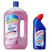 Get Lizol Disinfectant Floor Cleaner Lavender- 975 ml with Free Harpic Power Plus Toilet Cleaner- 20