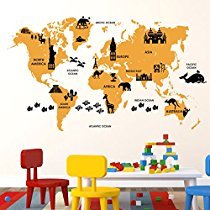 Get Luke And Lilly World Map Kids Wall Sticker(Pvc Vinyl60Cm at Rs 149 | Amazon Offer