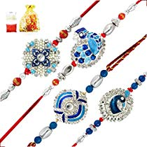 Get Mahi Combo of Blue Alloy Peacock Brass Rakhis for Men with A at Rs 413 | Amazon Offer