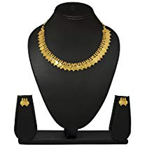 Get Meenaz Gold Plated Laxmi Temple Coin Necklace With Earrings at Rs 299 | Amazon Offer