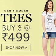 Get Men & Women Tees Buy 3 At Rs.499 at Rs 499 | Yepme Offer