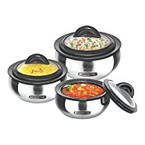 Get Milton Clarion Jr Stainless Steel Gift Set Casserole with Glass Lid, Set of 3,Steelplain at Rs 1