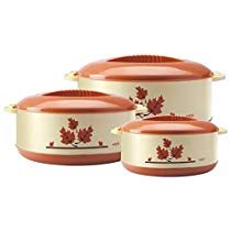 Get Milton Orchid Insulated Plastic Casserole Gift Set, 3-Pieces, Light Brown at Rs 560 | Amazon Off