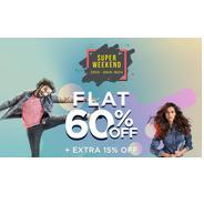 Get Myntra Super Weekend Sale - Flat 60% OFF + Extra 15% OFF | Myntra Offer