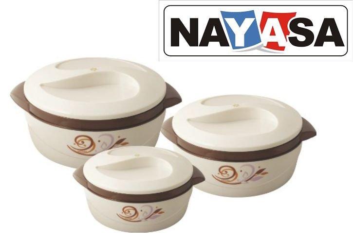 Get Nayasa Floriana Casserole Set of 3      at Rs 479 | Amazon Offer
