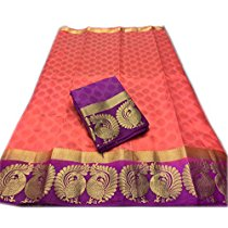 Get Nirja Creation Multi Color Fancy Party wear Cotton Silk Saree (6 Color) at Rs 989 | Amazon Offer