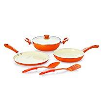 Get Nirlon Ceramic Aluminium Cookware Set, 5-Pieces, Orange (BT-CERAMIC-6PCSGIFTSET) at Rs 1699 | Am