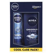 Get Nivea Men Cool Kick Deodorant Spray, 150ml with Original Care Shower Gel, 250ml at Rs 157 | Amaz