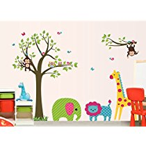 Get Oren Empower Animal fun around tree large cartoon wall stickers for kids (Finished size on wall