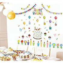 Get Oren Empower Multicolor Happy Birthday Large Wall Sticker, 180(W) X 170(H) Cm at Rs 267 | Amazon